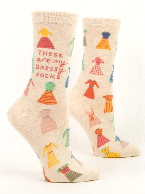 side view of beige socks with colourful little dresses & text 'These are my dressy socks' on sides