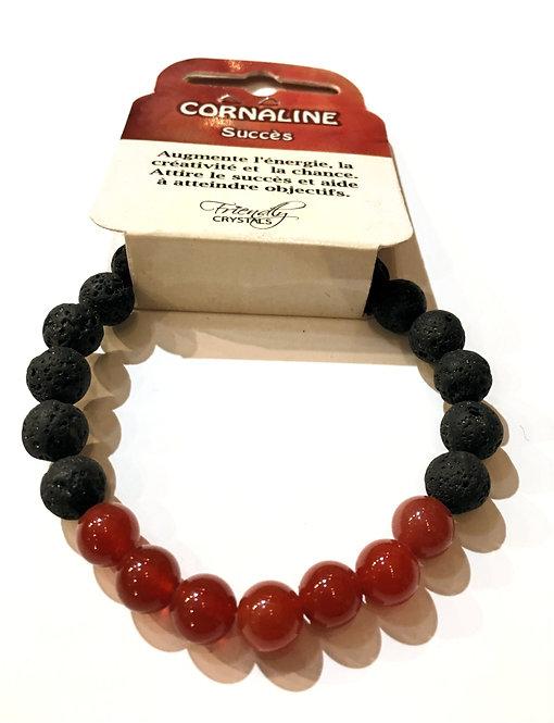 Close up of Lava Bead Stretch Bracelet with carnelian beads