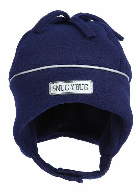 front view of solid navy fleece hat with silver reflective piping around crown-chin strap-fleece tassels on top
