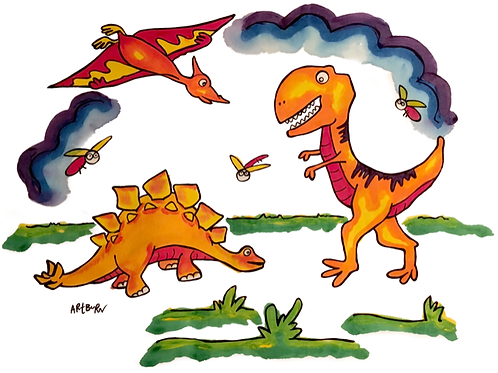 Painted pillowcase from Dinosaur Pillowcase painting kit