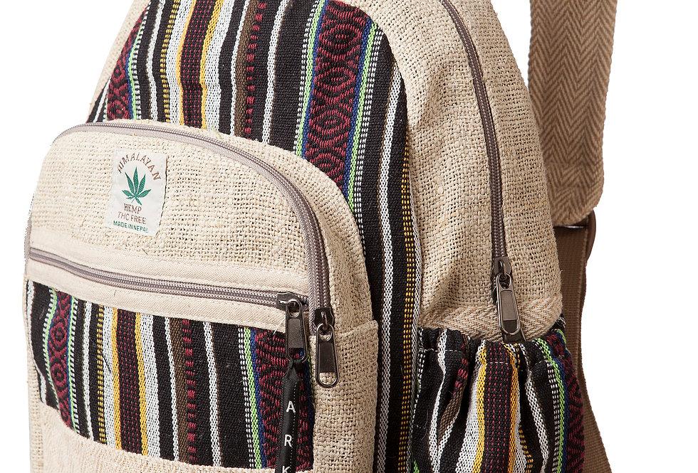 Ark Fair Trade Hemp Cotton Mini Knapsack-outer zip pouch-main zip pouch-adjustable strap natural colour & black stripes
