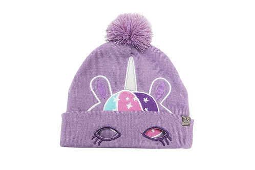 Mauve knitted toque with unicorn face stitched on to front-cuffed brim turned up