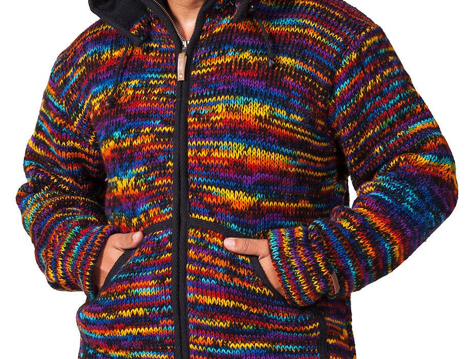 Front view-model wearing heavy knit wool cardigan-black-multi-rainbow-2 front pockets-front zipper-detachable drawstring hood
