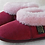 Pair of rose sheepskin slippers-side view