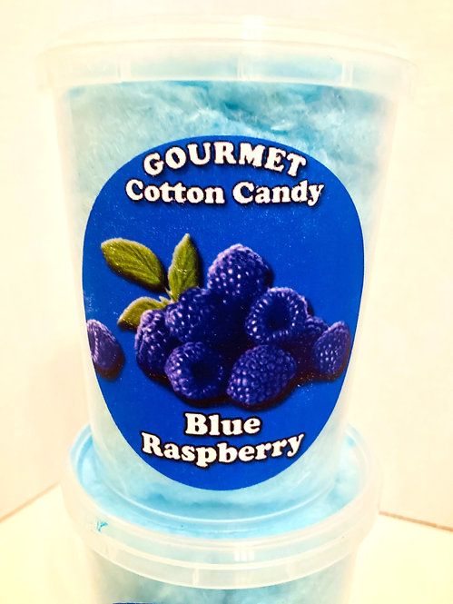 Clear plastic tub of blue cotton candy with sticker, 'Gourmet Cotton Candy' & 'Blue Raspberry'-image of blue raspberries