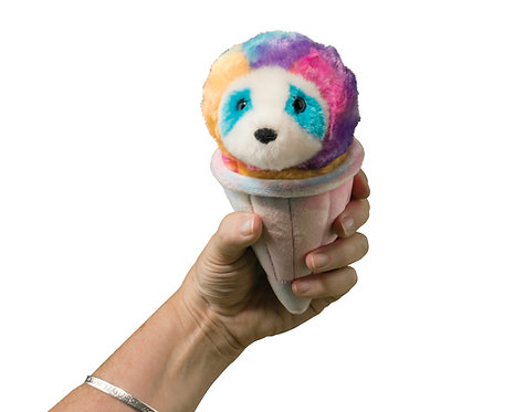 Plush toy shaped like an ice cream cone with a rainbow colored sloth face on the ball of ice cream