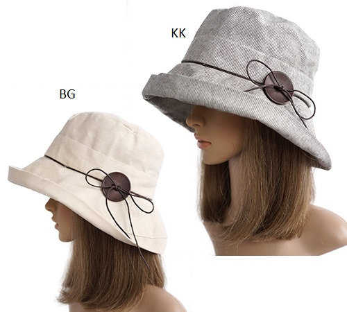 2 Skinny Bow Women's Sun Hat on mannequins in beige and khaki with thin brown tie around the crown