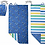 Navy blue towel-backpack unfolded into towel - shark & crab print one side, stripes the other
