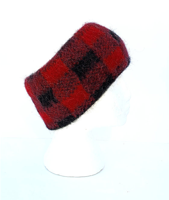 Red & black checkered wool headband