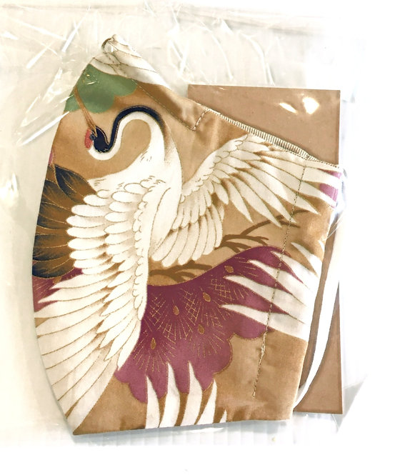 plastic package of Reusable Protective Mask - Elegant white bird print