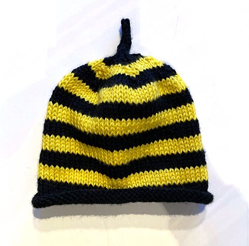 Knit infant hat with black & yellow horizontal stripes