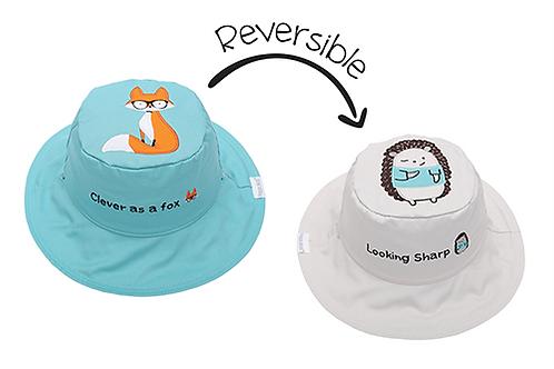 Flapjack Kids 2 in 1 Fox / Hedgehog Reversible Baby & Kid Sun Hat both sides