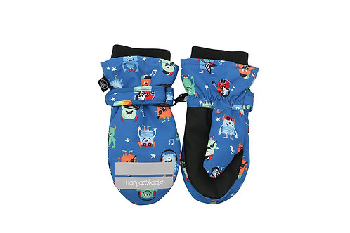 Pair of blue & black water repellent mitts with cute monsters print