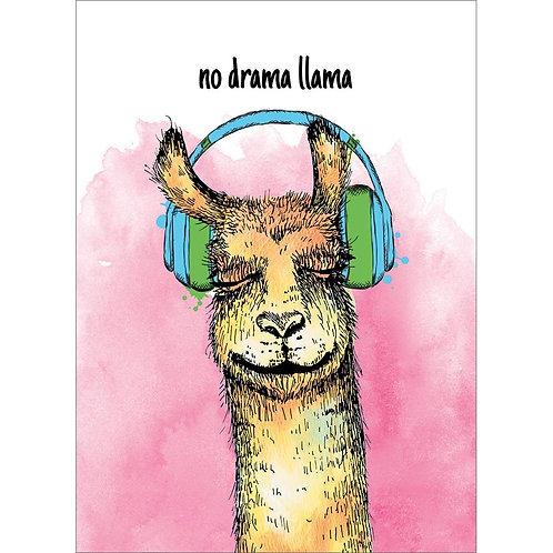 Front of pink & white card-brown llama face wearing green headphones-text 'no drama llama'