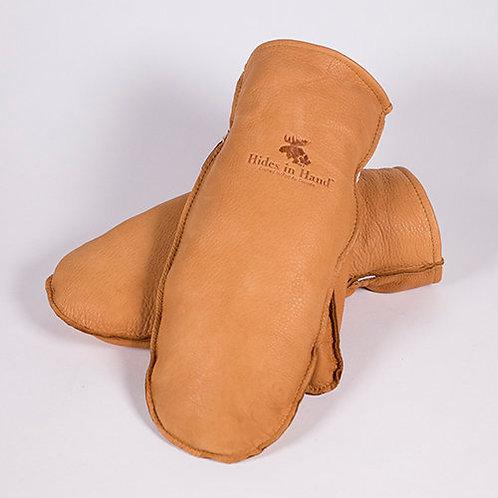 Pair of handmade tan deerskin leather mitts