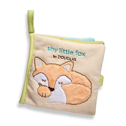 Soft Activity Book for babies with curled up fox on the cover-titled Shy Little Fox by Douglas