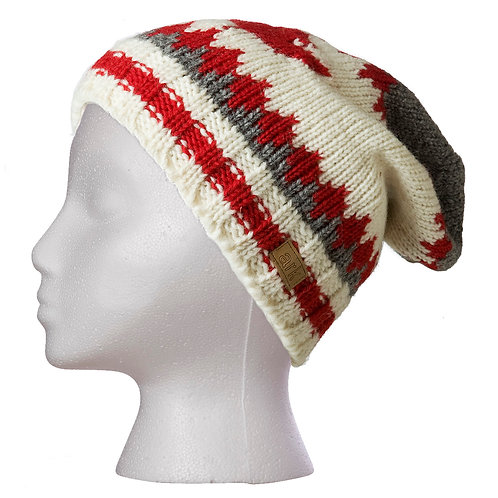 Gray, red & white wool knit slouch hat with red maple leaf on front