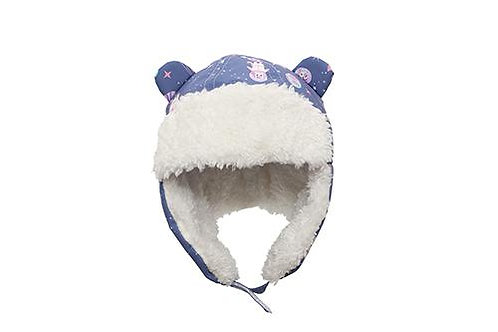 Front view dark blue water repellent trapper hat with unicorn print and white sherpa lining with earflaps down