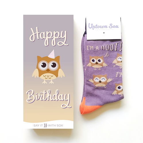 Mauve & yellow card-pic of owl-text 'Happy Birthday' & matching pair of socks