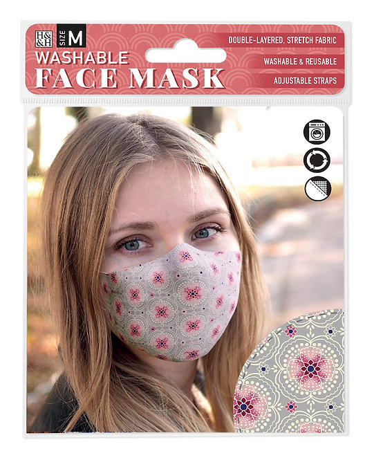 Packaging showing model wearing gray mask with pink floral print