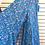 Blue floral print wide leg pants, leg spread