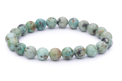 African turquoise stone bead stretch bracelet