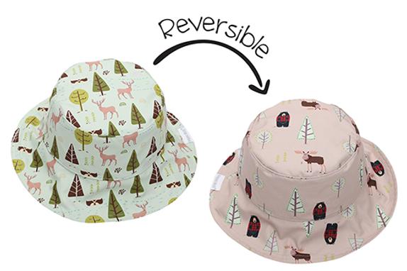 2 in 1 Reversible Patterned Sun Hat - Moose / Cottage