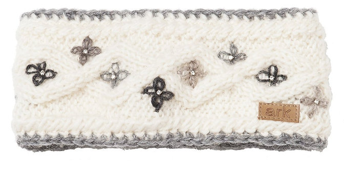 Knitted wool head band white with small 4-petal flowers stitched on in light & dark gray