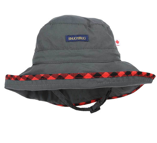 Charcoal Adjustable Sun Hat with red & black check trim around brim- front view showing breakaway chin strap