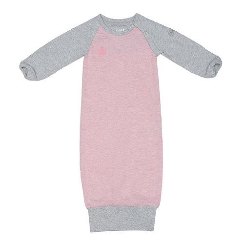 Front view of pink & gray raglan sleeve nightgown with ribbed bottom hem