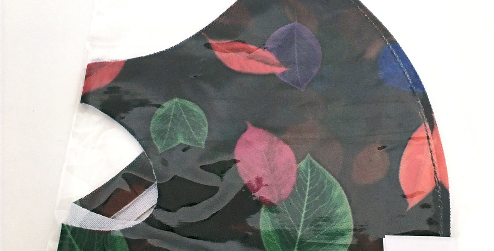 Side view of folded black mask black base with fuchsia, purple &green floral print