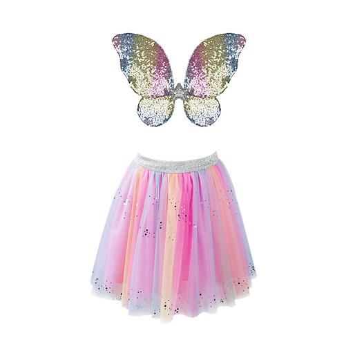 Pink & pastel tutu with iridescent sparkling sequined wings