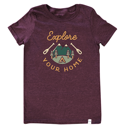 Dark red T-shirt with words Explore Your Home in gold, mountains, trees & tent in center and canoe paddle either side