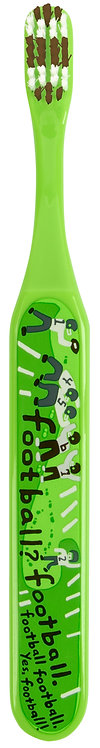 front of green toothbrush with black&white sketch of players on a football field & the word 5 times
