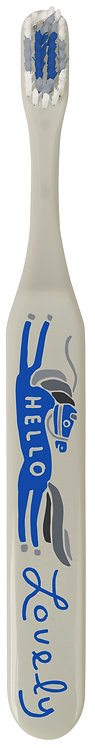 front of gray toothbrush-blue&white bristles & image of horse, text 'hello lovely'