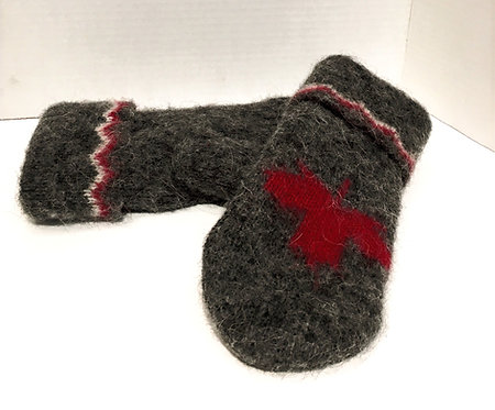 Top view of pair of gray wool mitts with burgundy & white trim at cuff & burgundy maple leaf on backs