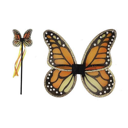 Child's black & orange monarch butterfly wings & matching wand
