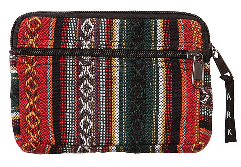 Fair Trade Azteka small flat zippered pouch-outer zip pocket-vertical stripe pattern in burgundy beige black