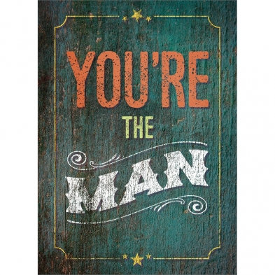 Tree-free Greetings You're the Man All Occasion Card, front large text on green background reads You're the Man