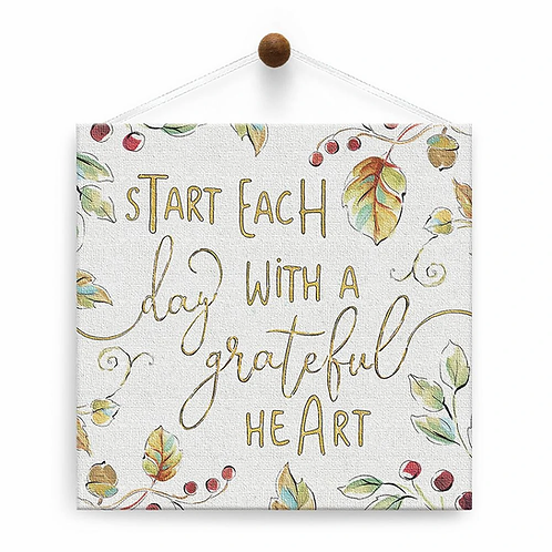 hanging white square canvas card pastel green leaves&berries-text 'start each day with a grateful heart'