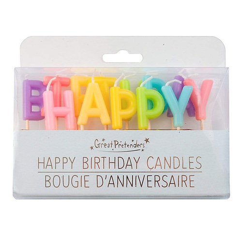 Clear plastic box of 13 assorted colored letter shaped candles