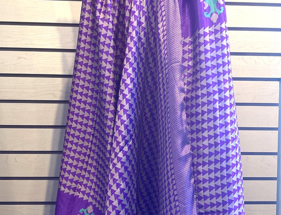 Light nylon harem pants with bobbin gathered waistband, uneven hemline in purple print
