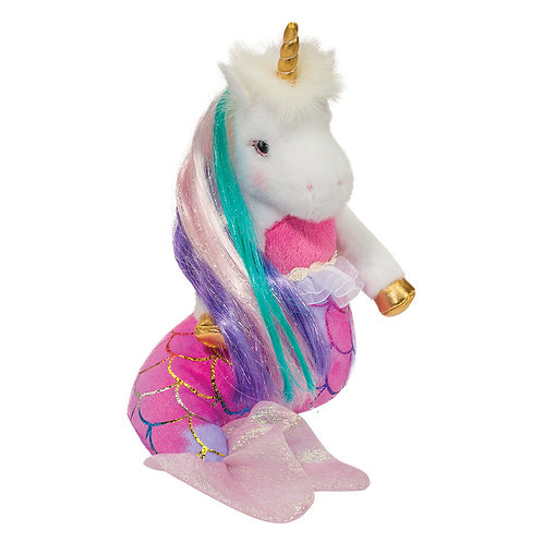 White plush unicorn toy wearing a pink mermaid dress with scale pattern, pale pink mermaid tail, gold horn & rainbow mane