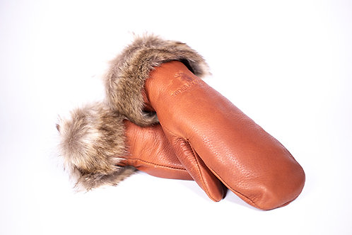 Pair of cognac-colored leather mitts with brown fur trim at cuffs