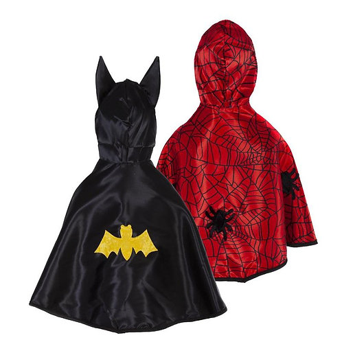 Reversible Spider-Bat Capes, black one side, red the other