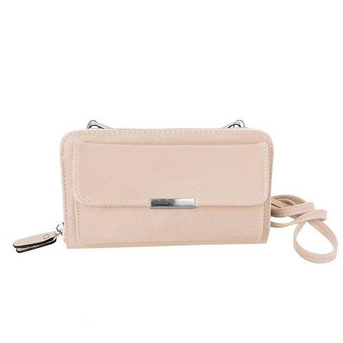Pink wallet-style purse with long shoulder strap & detachable wristlet strap