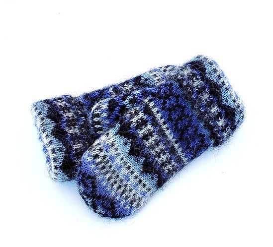 Blue, navy & white patterned knit wool mitts