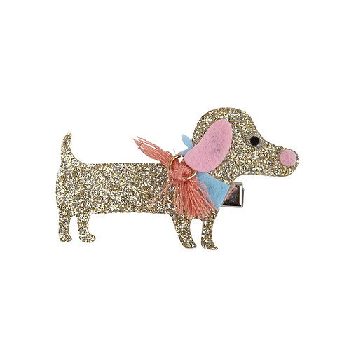 Sparkly gold dachshund hair clip with tassel collar