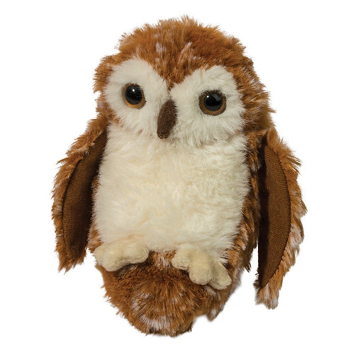 little brown & white owl stuffed toy