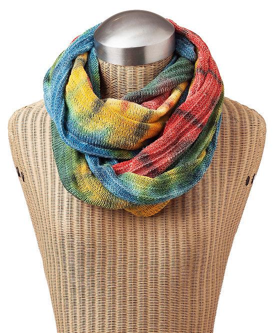 Ark Fair Trade Tie-Dye Magic Infinity Scarf on bust-rainbow